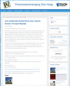 Aankondiging Personeelsvereniging Aegon Den Haag